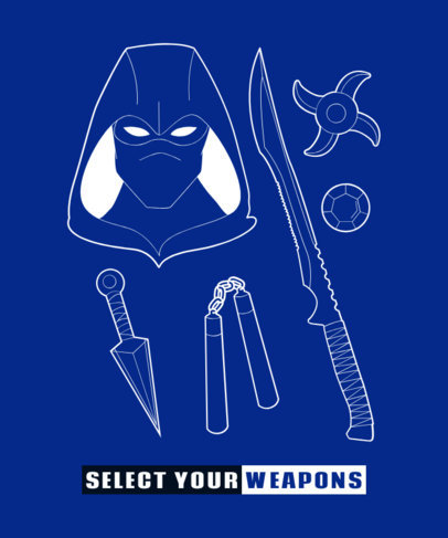 T-Shirt Design Maker Featuring a Set of Ninja Weapons 1630e