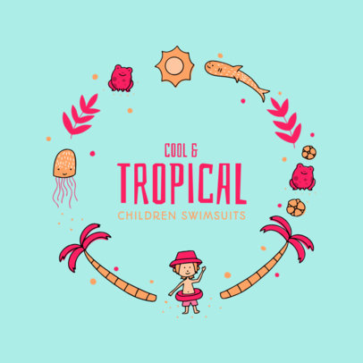 Tropical-Themed Logo Design Maker for Children Clothing Brand 2352a