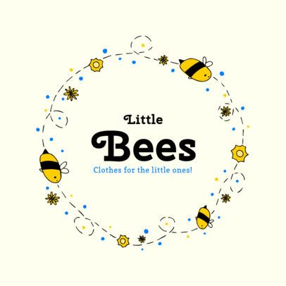 Kids Apparel Logo Design Creator with Bees and Nature 2352e