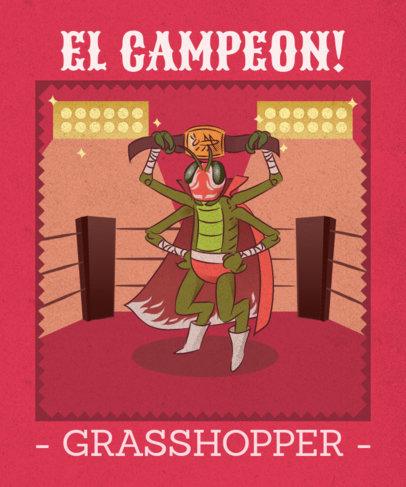 T-Shirt Design Template with a Grasshopper Holding a Wrestling Belt 1635f