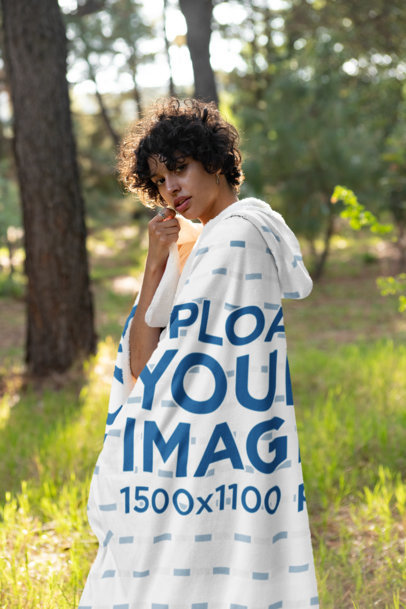 Hooded Blanket Mockup Featuring a Young Woman Outdoors 28129
