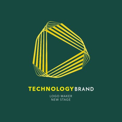 Logo Template for a Technology Brand Featuring a Wavy Triangle 2176h-2343