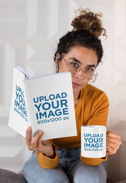 Mockup of a Woman With Glasses Holding an 11 oz Mug and a Book 28478
