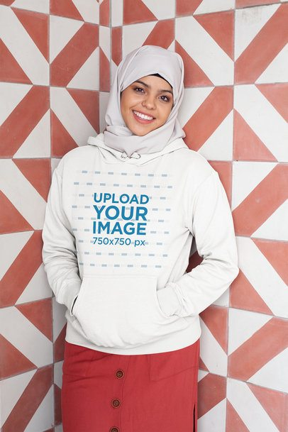 Mockup of a Woman with a Hijab Wearing a Hoodie Pullover 28394