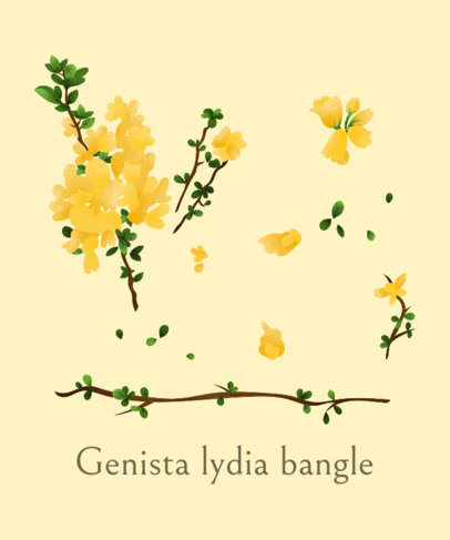 T-Shirt Design Generator with Lydia Broom Flowers 1662f