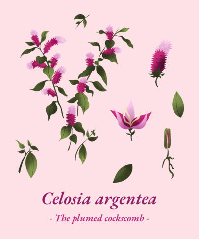 T-Shirt Design Maker with Celosia Argentea Flowers 1662g