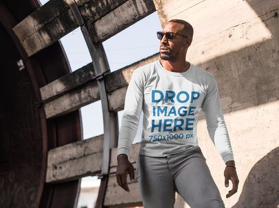 Man at Construction Site Long Sleeve T-Shirt Mockup a9100