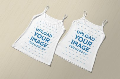Mockup of Two Tank Tops Placed over a Minimalist Background 363-el