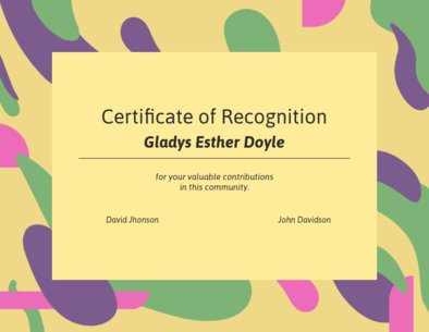 Certificate of Recognition Creator Featuring Fluid Vectors 1671f