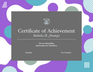Certificate of Achievement Template with an Abstract Bubble Design 1671h