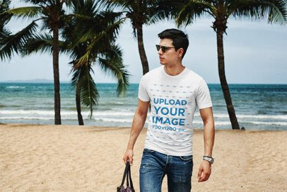 Mockup of a Man with Sunglasses Wearing a T-Shirt at the Beach 432-el