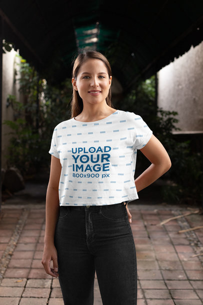 Sublimated Crop Top Mockup of a Happy Woman 28558