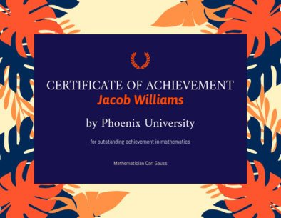 Achievement Certificate Template with Palm Leaves Illustrations 1671j