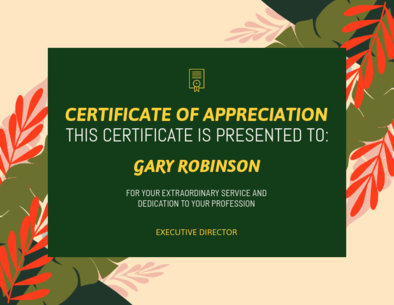 Appreciation Certificate Generator with Plants Illustrations 1671m