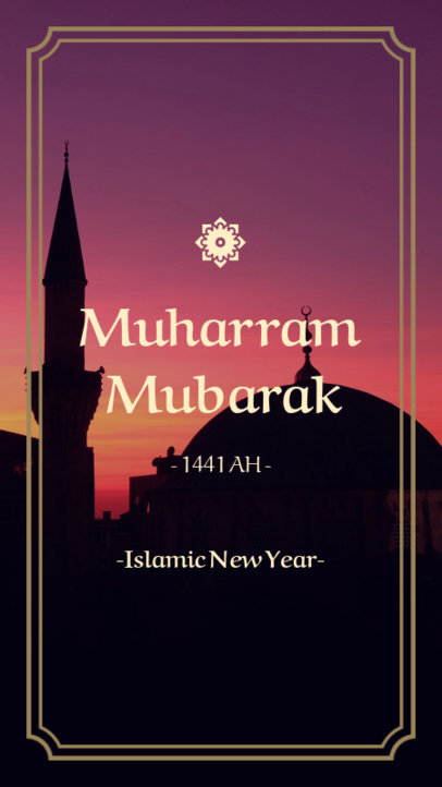 Islamic New Year Instagram Story Maker Featuring a Sunset and a Mosque 1606a