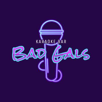 Cool Logo Maker for a Karaoke Bar with Neon Lights 2416b