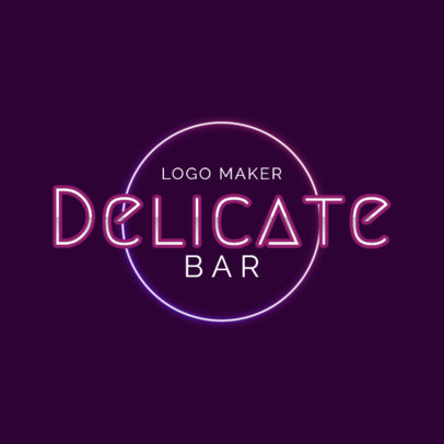 Elegant Bar Logo Maker with Neon Lights Art