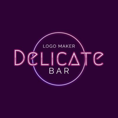 Elegant Bar Logo Maker with Neon Lights Art 2416g