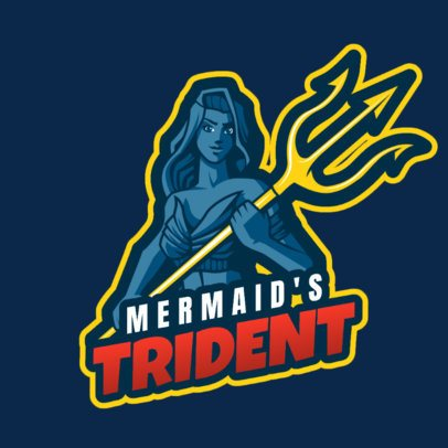Gaming Logo Maker for a Fortnite Squad Featuring a Mermaid with a Trident 2399a 2407