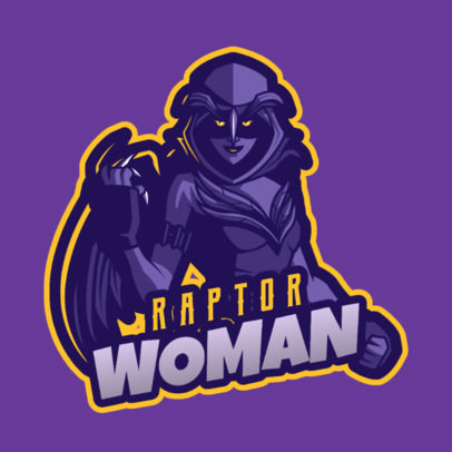 Fortnite-Inspired Gaming Logo Template Featuring a Dark Female Warrior with Wings 2399c 2407