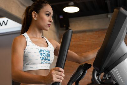 Sports Bra Mockup Featuring a Woman at the Gym 28686
