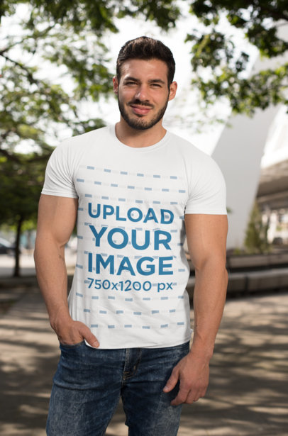 T-Shirt Mockup of a Fitness Man Posing in the Street on a Sunny Day 28511