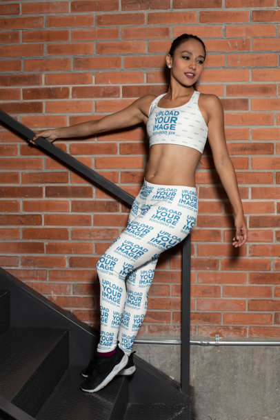 Mockup of a Woman with a Sports Bra and Leggings 28689