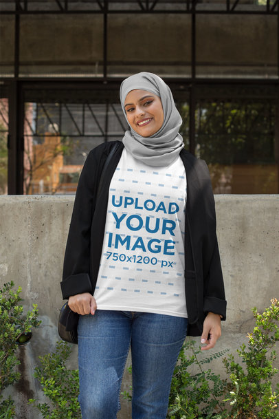 T-Shirt Mockup of a Woman with a Hijab and a Blazer 28404