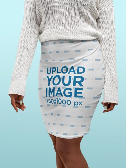 Pencil Skirt Mockup Featuring a Woman Wearing a Sweater at a Studio 28657