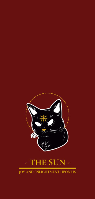Phone Case Template Featuring an Illustration of a Mystical Cat with White Eyes 1688a