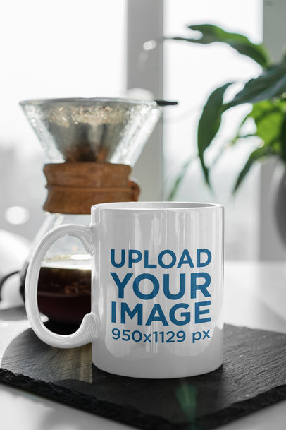 11 oz Mug Mockup Featuring a Coffee Brewer 406-el