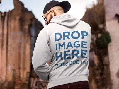 Mockup of the Back of a Hipster Wearing a Hoodie a9269b