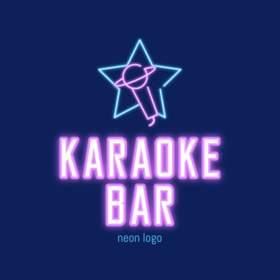 Karaoke Bar Logo Template with a Neon Microphone Silhouette