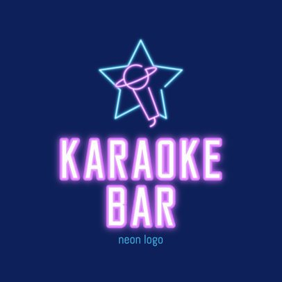 Karaoke Bar Logo Template with a Neon Microphone Silhouette 2413b