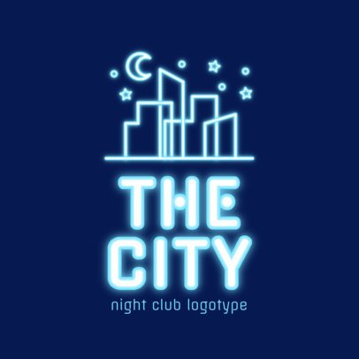 Neon Nightclub Logo Creator Featuring a Nocturnal City Skyline 2413e