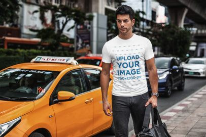 T-Shirt Mockup Featuring a Bearded Man Beside a Yellow Cab 435-el