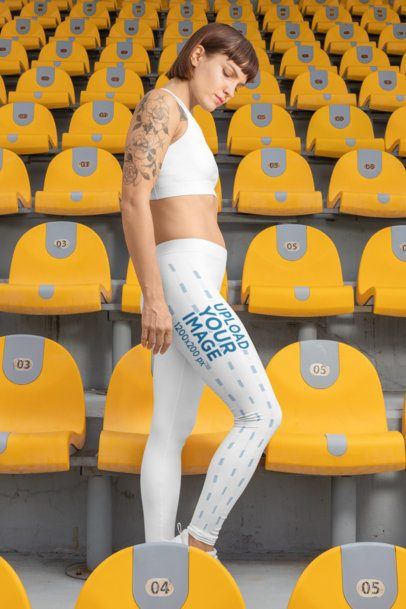 Leggings Mockup of a Woman Posing at a Stadium 28728