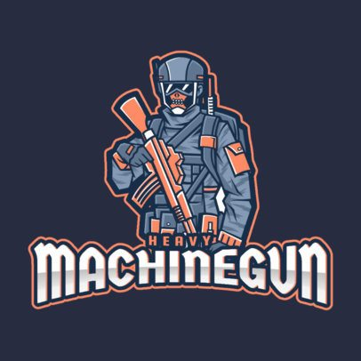 Gaming Logo Creator Featuring a Heavy Armed Soldier Character 2449j