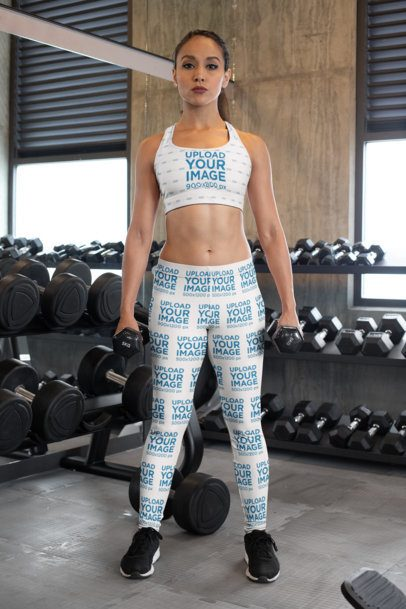 Mockup of a Fitness Woman Wearing a Sports Bra and Leggings at a Gym 28693