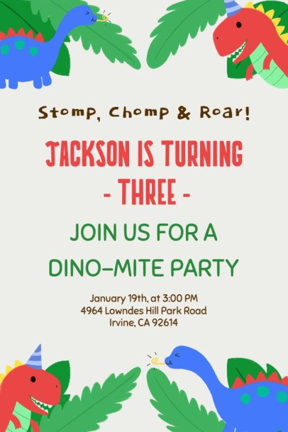 Birthday Party Invitation Card Maker with Dinosaur Illustrations 1685f