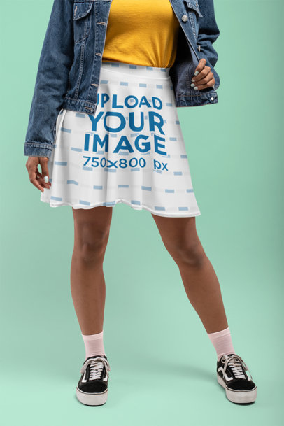 Skater Skirt Mockup of a Woman Wearing a Denim Jacket at a Studio 28654