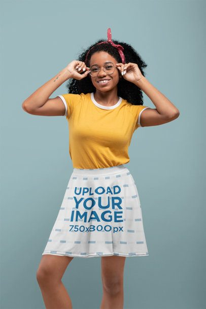 Skater Skirt Mockup of a Woman with Glasses at a Studio  28656