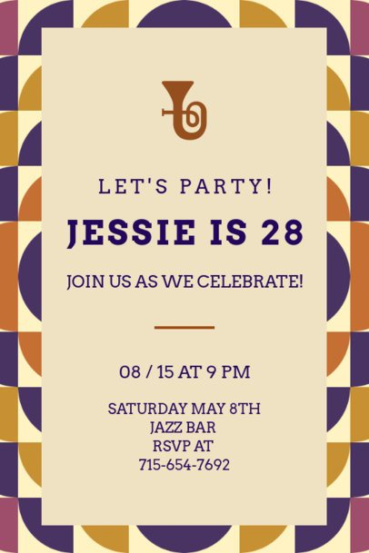 Invitation Generator for a Birthday Party with a Trumpet Illustration 1684b
