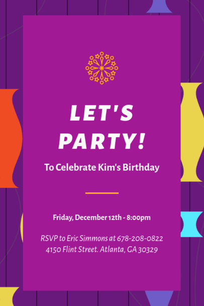 Invitation Template with a Happy Birthday Theme 1684g