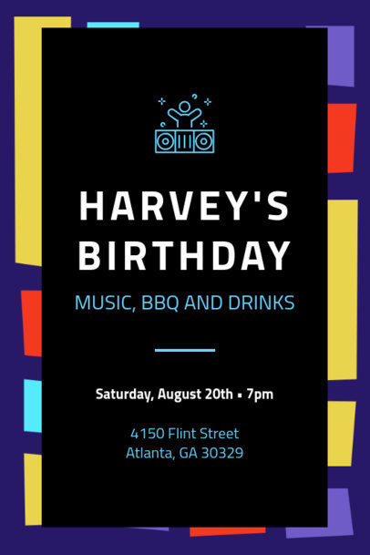 Invitation Maker for a Birthday Featuring Color Block Design 1684h