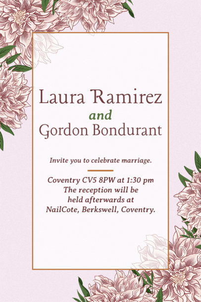 Wedding Invitation Template with Flowers in the Background 1683e