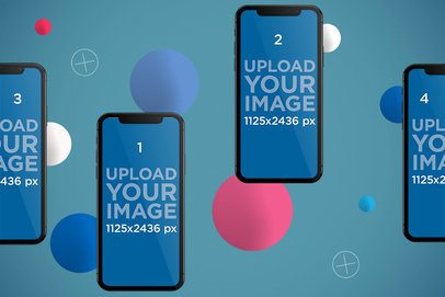 Mockup of Multiple iPhone XS Floating in an Abstract Background 532-el