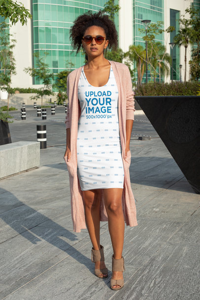 Racerback Dress Mockup Featuring a Woman with Sunglasses 28775