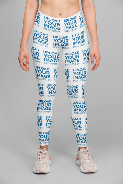 Sublimated Leggings Mockup Featuring a Woman Standing at a Studio 28716
