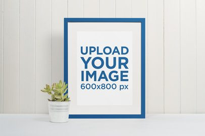 Picture Frame Mockup by an Indoor Plant Pot 541-el